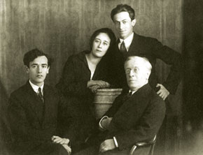 L-R: Lev Landau, his sister Sonya Landau and her husband Ligush Broderzone, father David Landau, St Petersburg, early 1930s