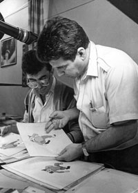 From the right: Director A. Maharramov works on animation