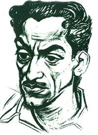 Portrait of Poet Bakhtiyar Vahabzada by Togrul Narimanbayov, charcoal on paper, 1965