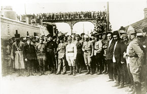 Leaders and commanders of the 11th Red Army, representatives of the Azerbaijani Communist Party (Bolshevik) before the armoured tank 3rd Internaertional, May 1920