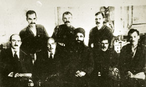 Members of the presidium of the Azerbaijan SSR Central Executive Committee. Left to right: (sitting) T. Shahbazi, N. Narimanov, M. Hajiyev, S. Aghamalioghlu, T.Huseynov, (staying) S. Fatalizada, V. Krilov, A. Andreyev, May 1921