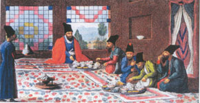 Supper. Painting from the book The Second Trip to Persia in 1810-1816 (London, 1818) by J.Morier