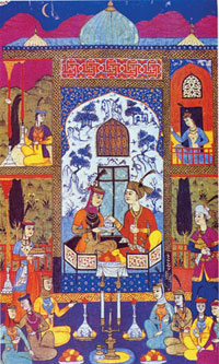 Miniature, Khosrov and Shirin listening to the maid´s tales, Khamsa, 1648, Bukhara