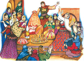 Women celebrate at a traditional wedding, painting by Ismayil