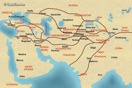 The Great Silk Road and trade between the Caspian and Europe