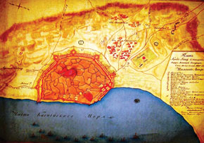 Map of old Baku, drawn by Russian military specialists, 1806