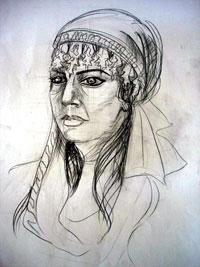 A sketch of student Gunel Aliyeva as Leyli
