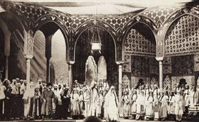 Scene from Leyli and Mejnun, 1938, Leyli - Heqiqet Rzayeva, Mejnun - Elovset Sadiqov