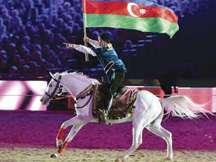 Karabakh Horses Perform before H.M. The Queen