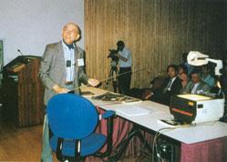Lotfi Zadeh at an international conference on fuzzy logic at the University of California, Berkeley, USA, 1996