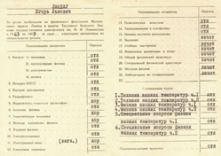 Copies of Lev Landau's honours diploma and transcription of grades from the faculty of Physics of Moscow State University
