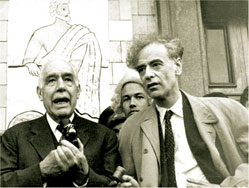 Well-known Danish scientist Nils Bohr and Lev Landau, speaking in the Physicians' Archimedes Festival, in front of Moscow State University, 1961