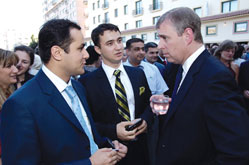 From the left Tale Heydarov, chairman of the London Azerbaijan Society, Taleh Bagiyev chairman of the Anglo-Azerbaijani Youth Society and Prince Andrew