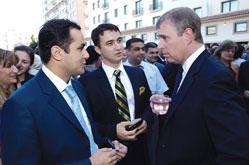 From the left Tale Heydarov, chairman of the London Azerbaijan Society, Taleh Bagiyev chairman of the Anglo-Azerbaijani Youth Society and Prince Andrew