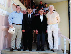 From left to right: Edward Lord, Member of the City of London Corporation and Deputy Chairman  of the Advisory Board of the European Azerbaijan Society; Sahib Mammadov, First Deputy of the Guba Region Executive Authority; Boris Semanduyev, Head of the religious community of Mountain Jews in Guba's Red District;  Lord Laird, Chairman of the Advisory Board of the European Azerbaijan Society