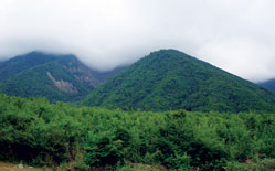 Misty mountain near Kish village. Sheki region