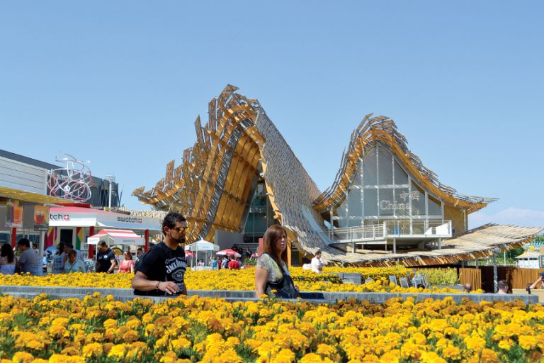 The Chinese pavilion boasts the most impressive flower display
