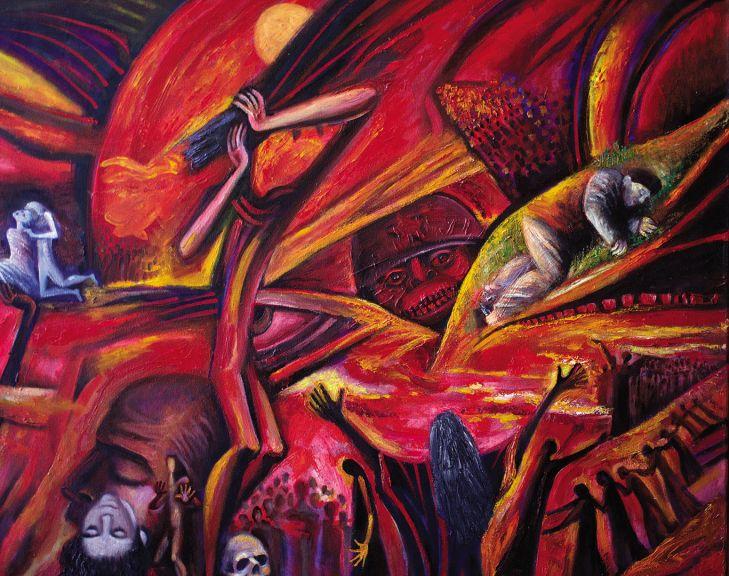 Ashraf's painting representing the Khojali tragedy