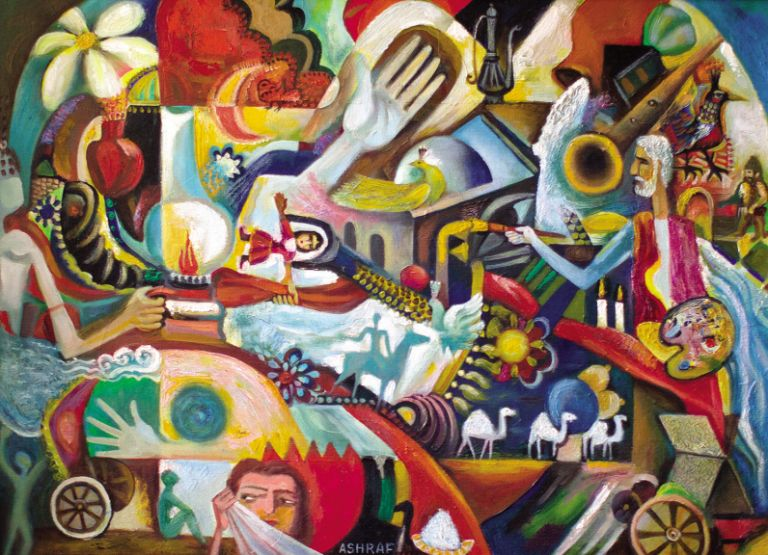 Azerbaijani themes and motifs are represented throughout Ashraf's work