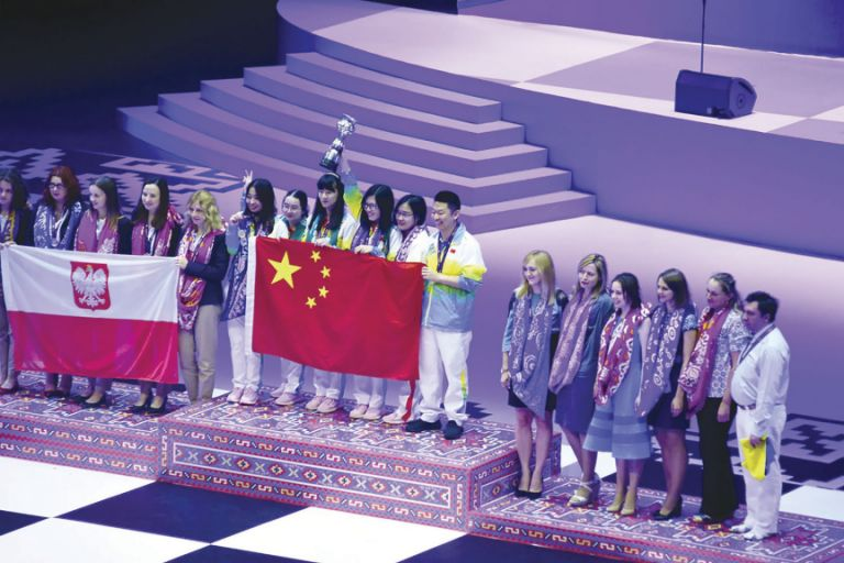 The medal ceremony for the women's competition. China won gold; Poland - silver; and Ukraine - bronze