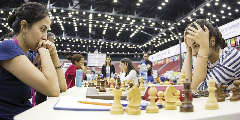 Gunay Mammadzada, Azerbaijani Woman Grandmaster, in action against Colombia