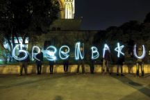 Earth Hour Azerbaijan 2016, a stop motion light effect is used for the phrase Green Baku