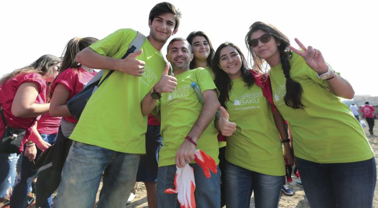 Let's Do it! Azerbaijan and Coca Cola Coastal Cleanup 2015, happy volunteers after the biggest clean up campaign to date
