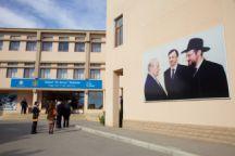 The delegation entering Chabad School Or Avner in Baku. Nov 3, 2015