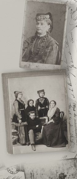 Her mother, Fatma khanim Khadija, standing right, with brother and sisters