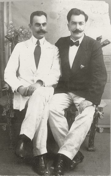 Her husband Mustafa bey (on the left)