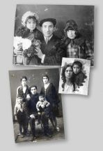 1. Leyla's husband Bahram with daughters Elmira and Zemfira 2. Leyla pictured in 1929 with her son Firudbek 3. Bahram, Leyla (top left), their twos sons and a neighbour, 1930