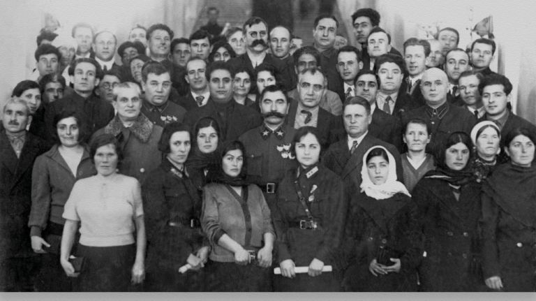 Leyla (second from left front row) member of the Azerbaijani delegation to mark 15 years of Soviet Azerbaijan, 1936. Mirjafar Baghirov is in the centre, 3rd row, and behind the bemedalled military man
