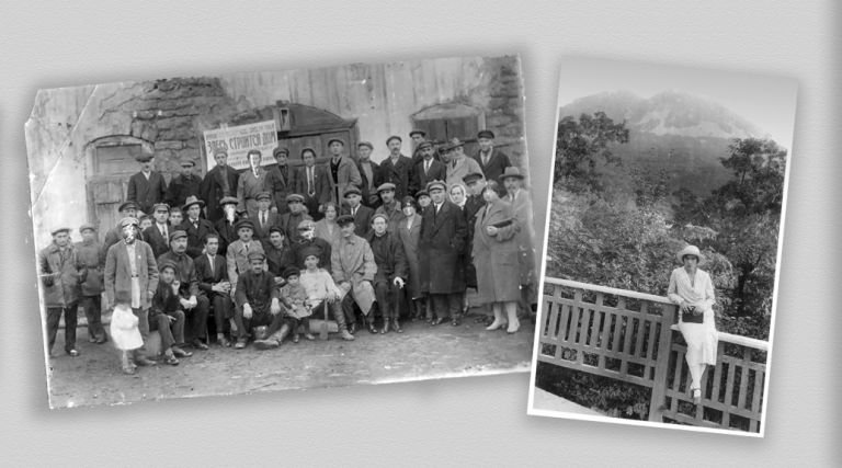 1.'Erecting Bahram's first cooperative building,1928. Bahram is seated, front row, second from the left  2.On holiday in Zheleznovodsk, 1932