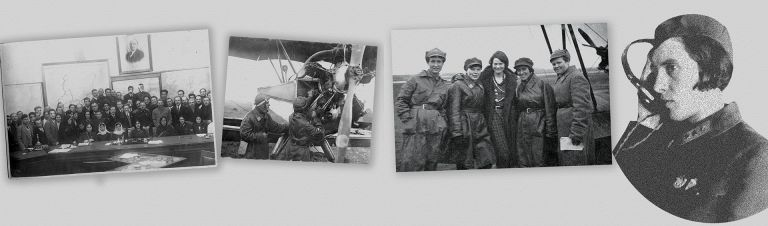 Leyla (second from right) pictured with an unknown British female pilot in Moscow, 1933