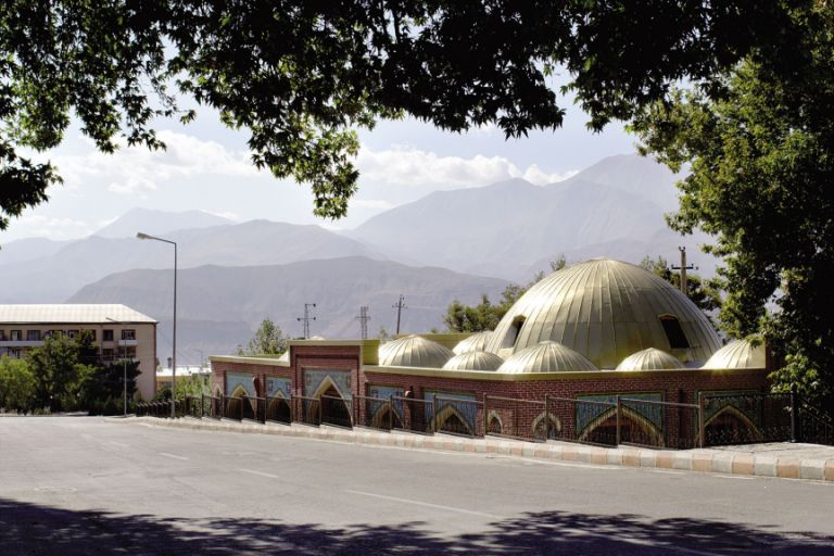 The golden domes of Ordubad's history museum, a former bazaar