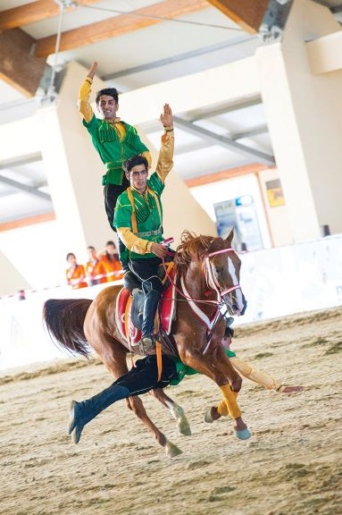 Acrobatics on horseback during the opening ceremony