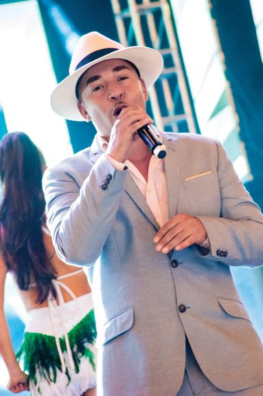 German mambo musician Lou Bega performing during the closing ceremony on 12 September