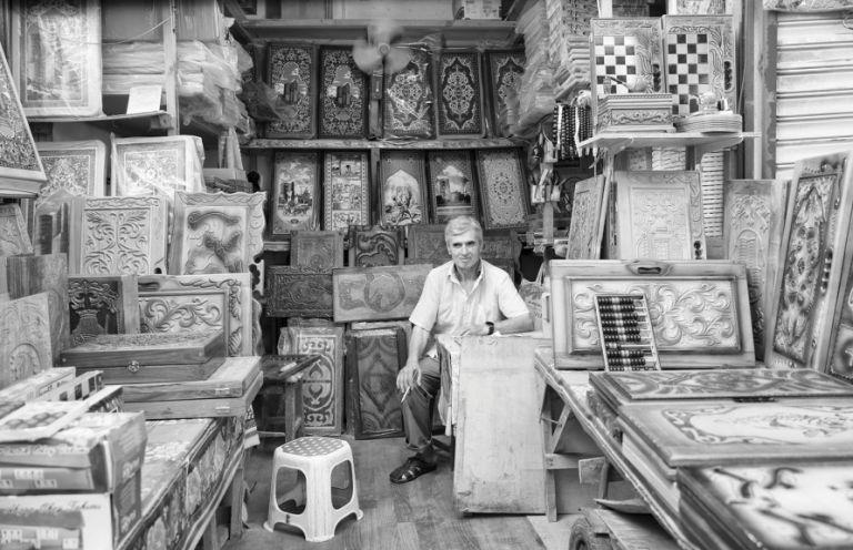 A nard vendor in Sadarak Market on the outskirts of Baku. 2016