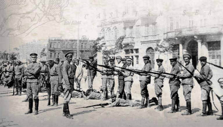Armenians being drilled in Baku to resist the besieging Turks