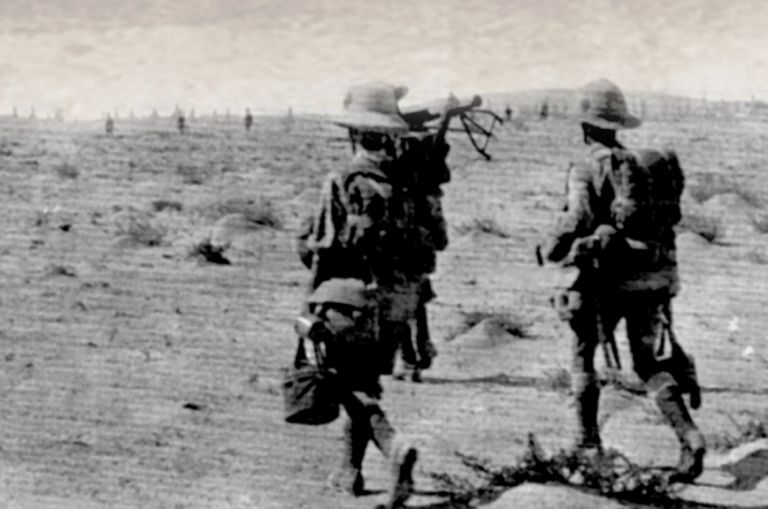 Dunsterforce troops advance on the mud volcanoes in August 1918