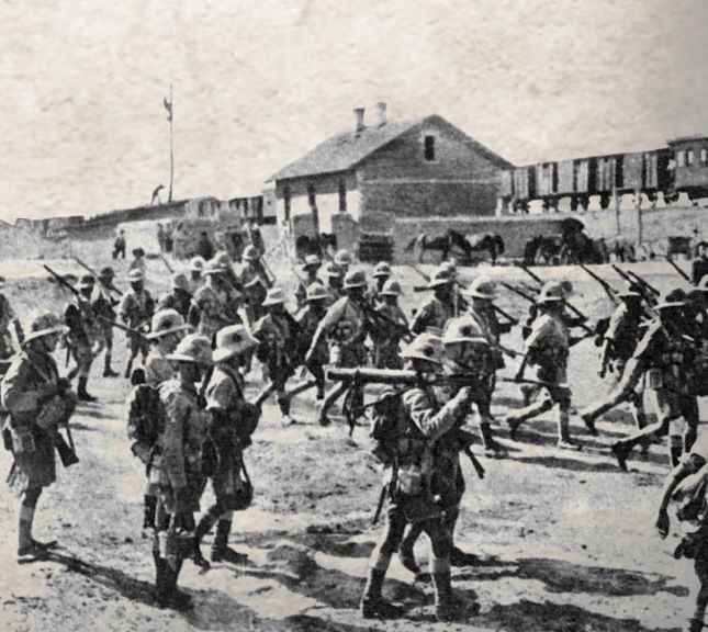 British soldiers from the North Staffordshire Regiment at Bilajary station in Baku in late August 1918