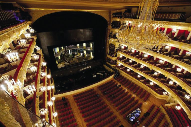 The auditorium and stage of the Bolshoi Theatre