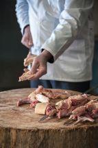 Skewering the meat