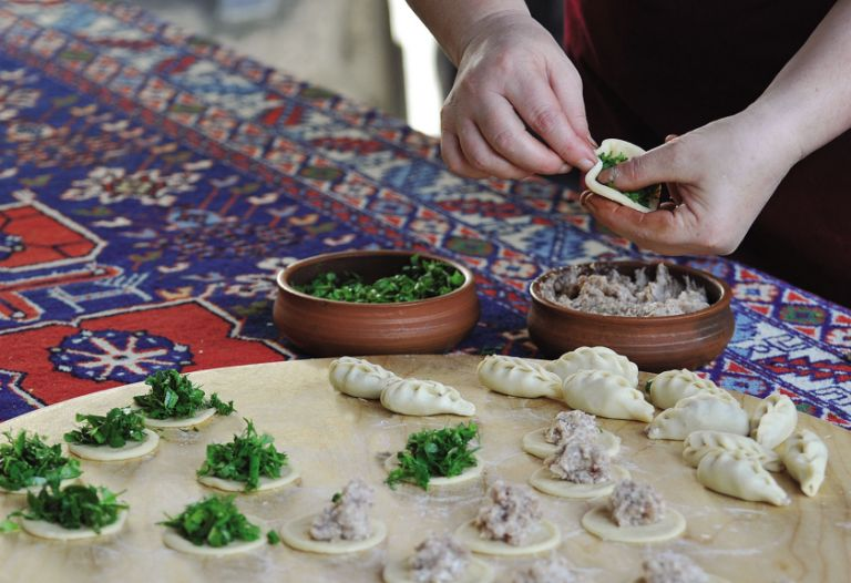 Gurza can be made with mince or herbs and vegetables