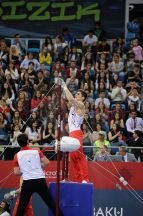 Azerbaijani gymnast Benje Talas competing in the artistic gymnastics on 15 May. Photo: Eldar Farzaliyev