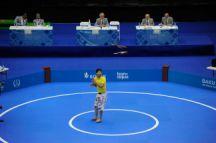 Pezhman Sokoonati competes for Iran in the zorkhana meel bazi final on 21 May. Photo: Eldar Farzaliyev