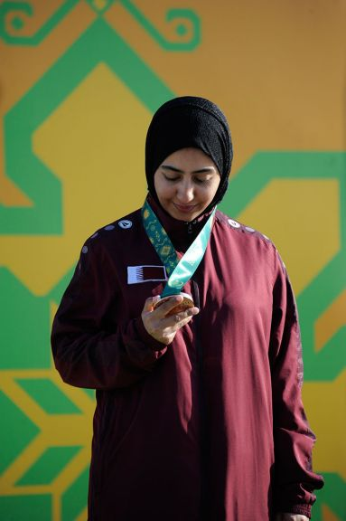Bronze medallist in the women's trap shooting, Kholoud Hassan al Khalaf of Qatar, 13 May. Photo: Eldar Farzaliyev