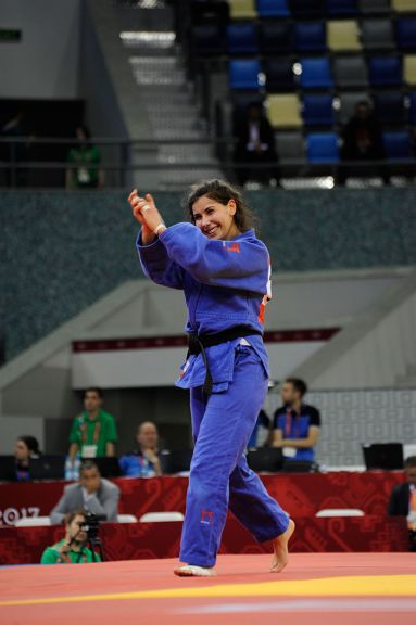 Turkish judoka Nazlican Ozerler defeats Kyrgyzstan's Ksenia Beldiagina on 13 May. Photo: Eldar Farzaliyev