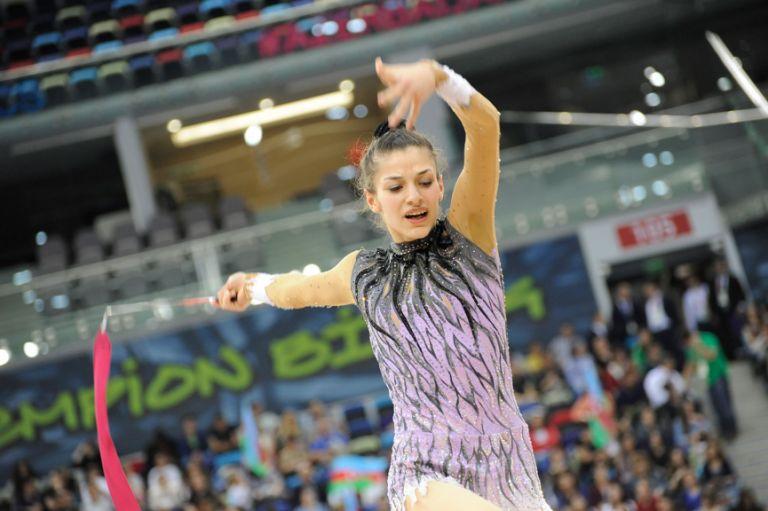 Syria's Dina Alshikh Ali competes in the women's individual rhythmic gymnastics on 14 May. Photo: Eldar Farzaliyev