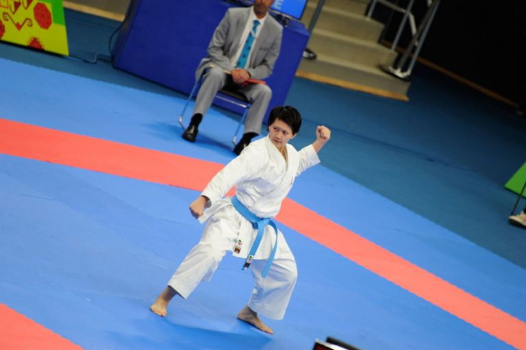 Malaysia's Celine Lee in action in the women's kata on 14 May. Photo: Eldar Farzaliyev